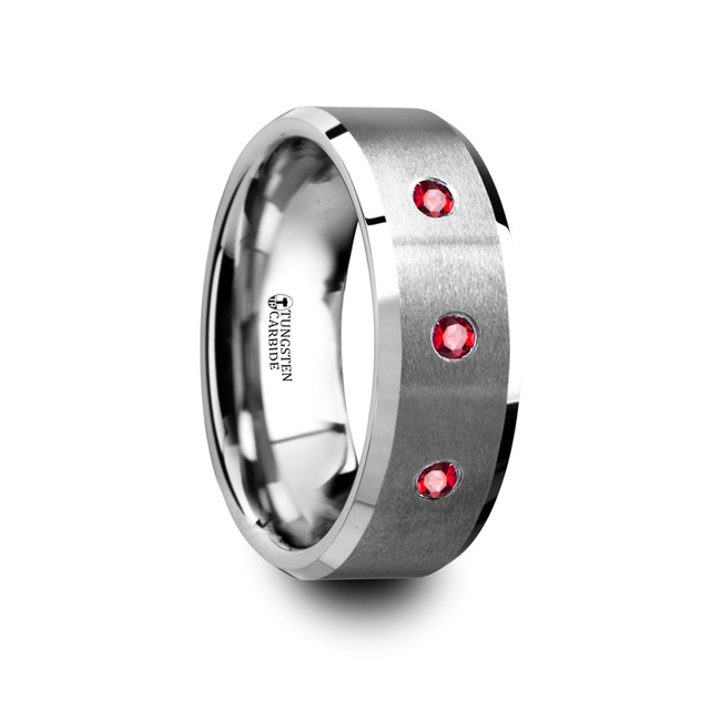 Cleoboea Flat Brushed Tungsten Wedding Band with Rubies from Vansweden Jewelers