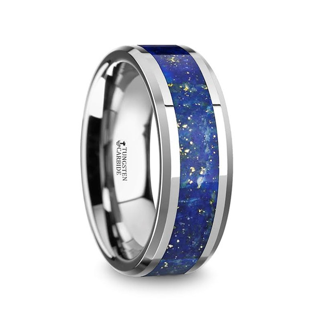 Messene Men's Polished Tungsten Wedding Band with Blue Lapis Lazuli Inlay from Vansweden Jewelers