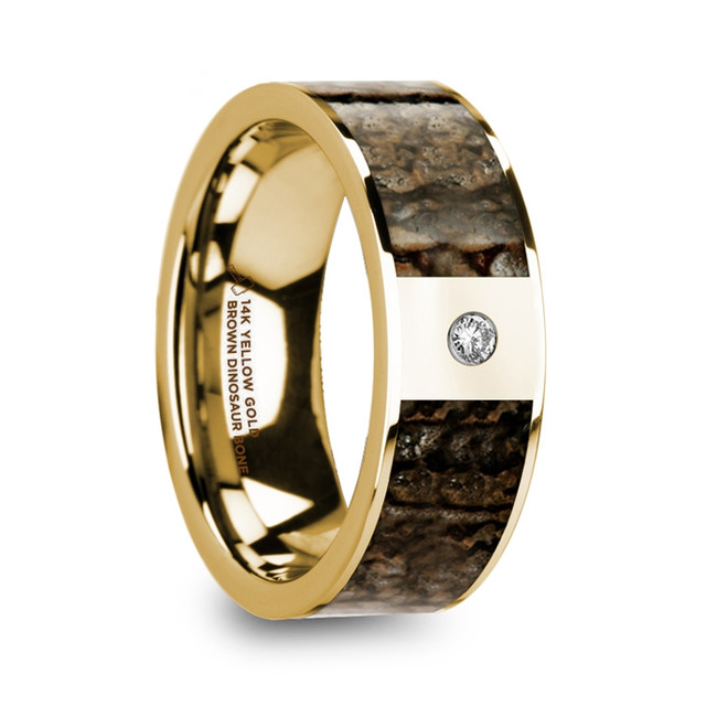 Abia Polished 14k Yellow Gold Men's Wedding Band with Brown Dinosaur Bone Inlay and Diamond from Vansweden Jewelers