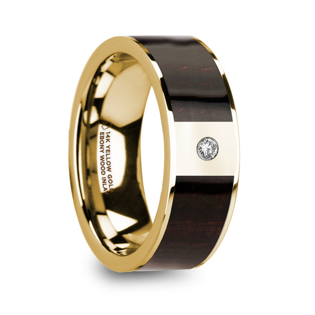 The Anthus Men's 14k Yellow Gold & Ebony Wood Inlay Flat Wedding Ring with Diamond Center from Vansweden Jewelers