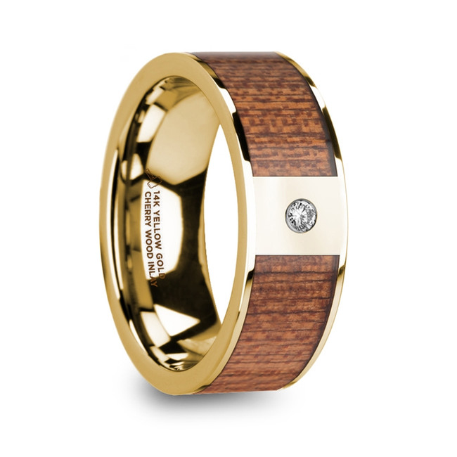 The Bormus Men's Diamond Center Polished 14k Yellow Gold Wedding Ring with Cherry Wood Inlay from Vansweden Jewelers