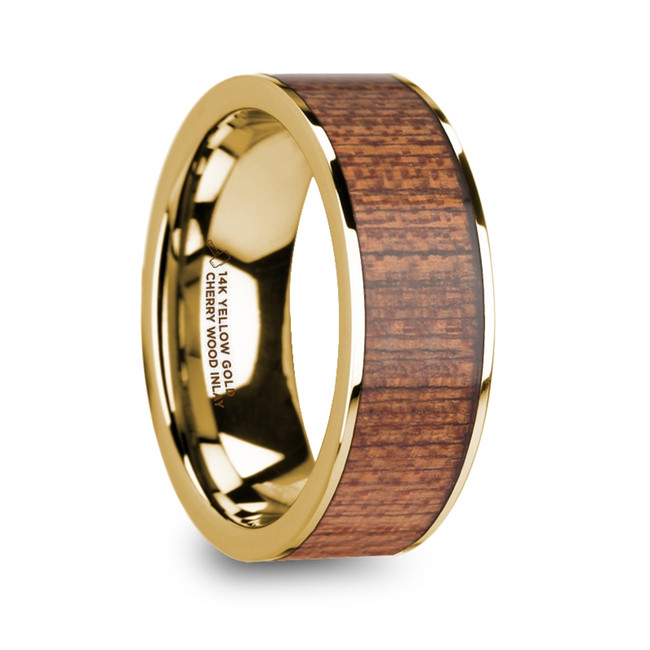 The Areithous Cherry Wood Inlaid Polished 14k Yellow Gold Men's Flat Wedding Ring from Vansweden Jewelers