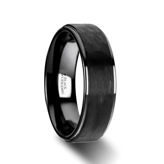 The Epistrophus Raised Hammer Finish Step Edge Black Ceramic Carbide Wedding Band with Brushed Finish from Vansweden Jewelers