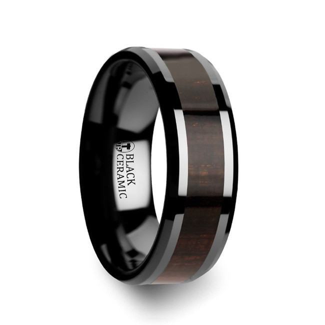 The Dryope Black Ebony Wood Inlaid Black Ceramic Ring with Beveled Edges from Vansweden Jewelers