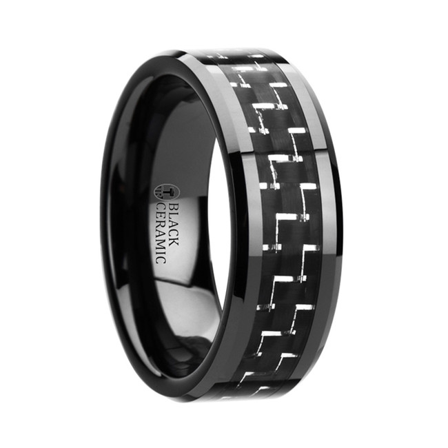 The Phlias Black Beveled Ceramic Ring with Silver & Black Carbon Fiber Inlay from Vansweden Jewelers