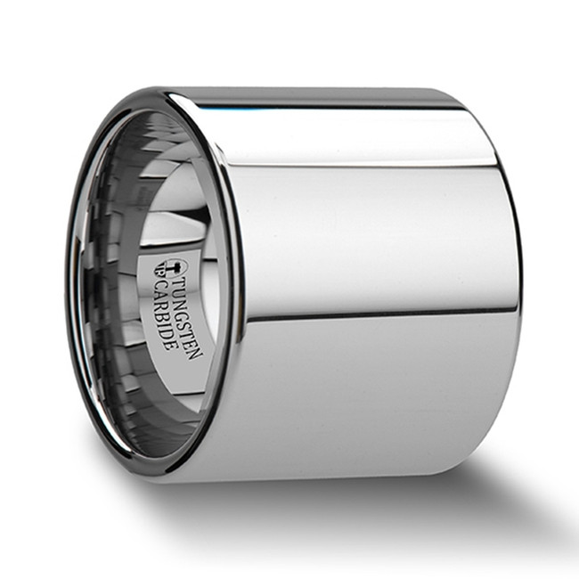 The Antheus Flat Pipe Cut Tungsten Carbide Ring with Polished Finish from Vansweden Jewelers