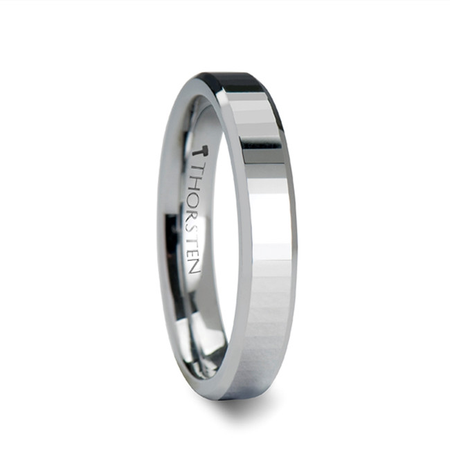The Periboea Beveled Tungsten Carbide Ring with Narrow Rectangular Facets from Vansweden Jewelers