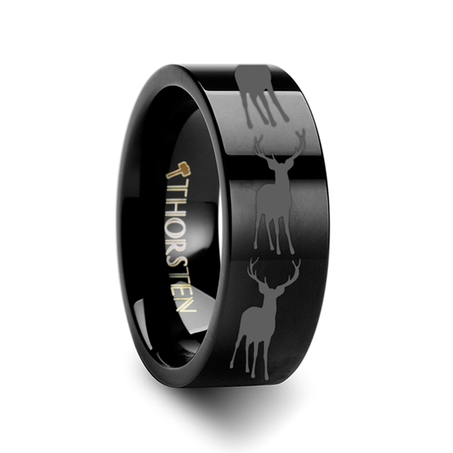 Ornytion Deer Elk Engraved Flat Black Tungsten Ring from Vansweden Jewelers