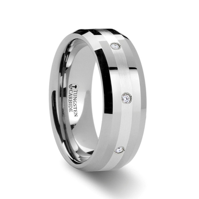 Anaxo Beveled Tungsten Wedding Band with Silver Inlay and Diamond from Vansweden Jewelers