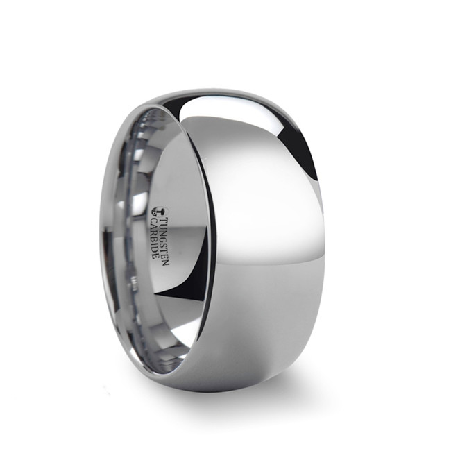 Arge Rounded White Tungsten Carbide Ring with Polished Finish from Vansweden Jewelers