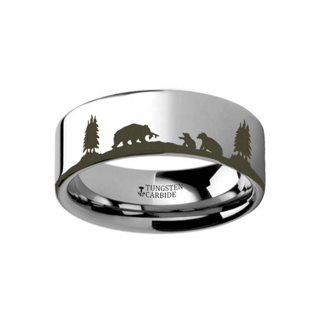 Panopeus Landscape Scene with Bears Engraved Flat Tungsten Ring from Vansweden Jewelers
