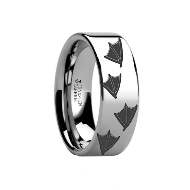 Polycaste Duck Print Engraved Flat Tungsten Ring from Vansweden Jewelers