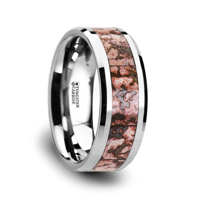Mantius Pink Dinosaur Bone Inlaid Tungsten Carbide Wedding Band from Vansweden Jewelers