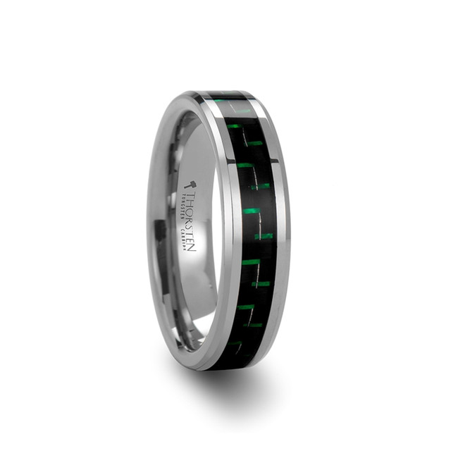Staphylus Tungsten Carbide Ring with Black & Green Carbon Fiber Inlay from Vansweden Jewelers