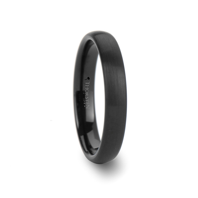 Nicippe Round Black Tungsten Carbide Ring with Brushed Finish from Vansweden Jewelers