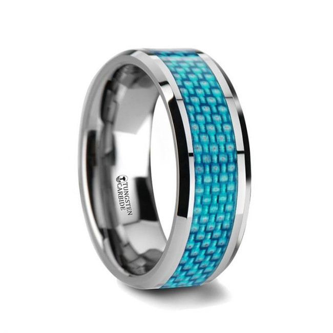 Deioneus Tungsten Wedding Band with Blue Carbon Fiber Inlay from Vansweden Jewelers