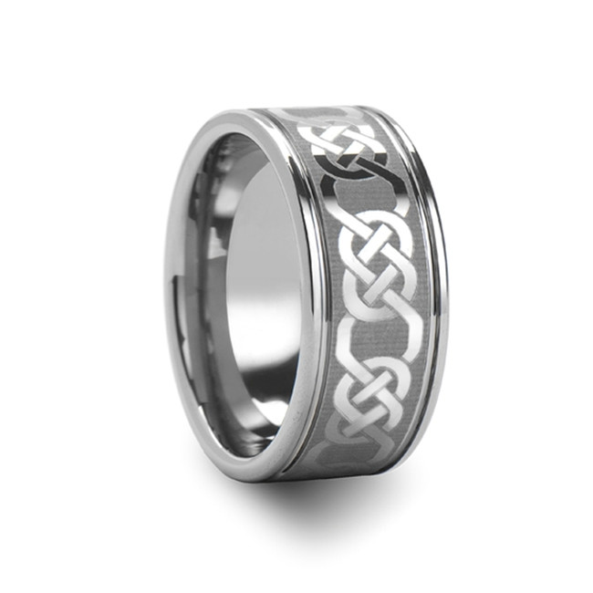 Acamas Celtic Laser Engraved Tungsten Carbide Ring from Vansweden Jewelers
