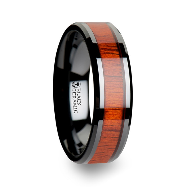 Telecleia Black Ceramic Wood Ring with Polished Bevels and Padauk Real Wood Inlay from Vansweden Jewelers