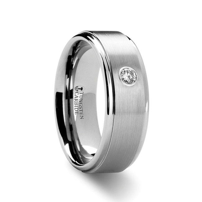 Ereuthalion Tungsten Carbide Ring with Diamond from Vansweden Jewelers