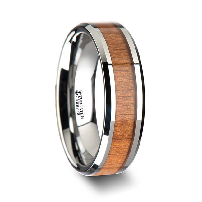 Melanippus Tungsten Wedding Band with Black Cherry Wood Inlay from Vansweden Jewelers