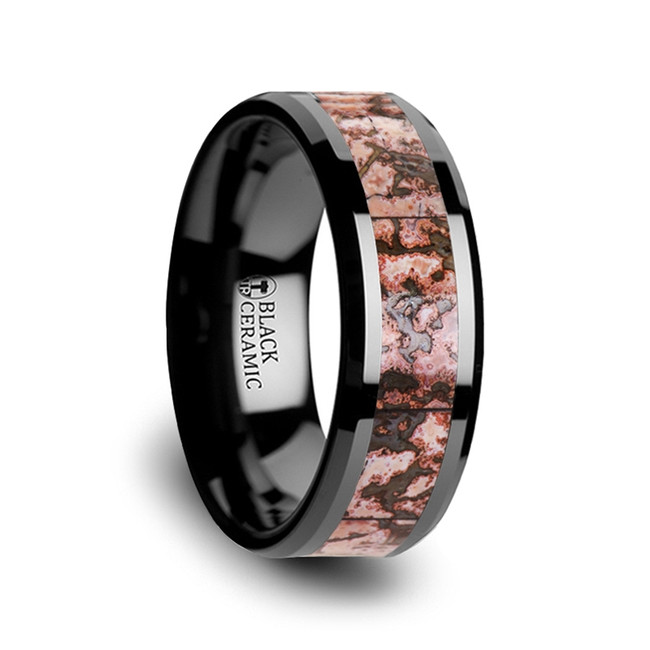 Clytie Black Ceramic Wedding Band with Pink Dinosaur Bone Inlay from Vansweden Jewelers