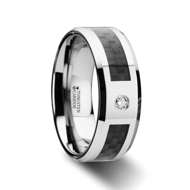 Daedalion Tungsten Carbide Ring with Black Carbon Fiber Inlay and White Diamond from Vansweden Jewelers