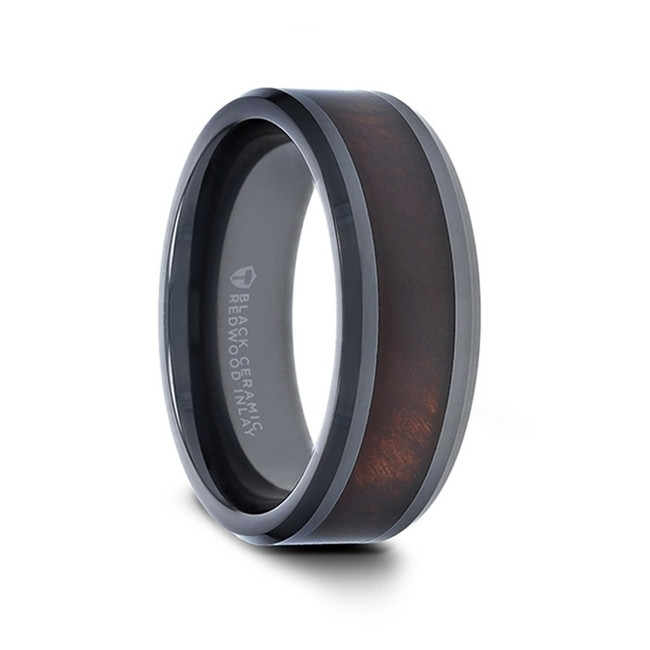 Xanthus Redwood Inlaid Black Ceramic Ring with Beveled Edges from Vansweden Jewelers