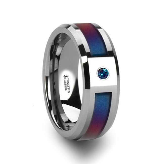 Clytodora Tungsten Carbide Ring with Blue & Purple Color Changing Inlay and Alexandrite from Vansweden Jewelers