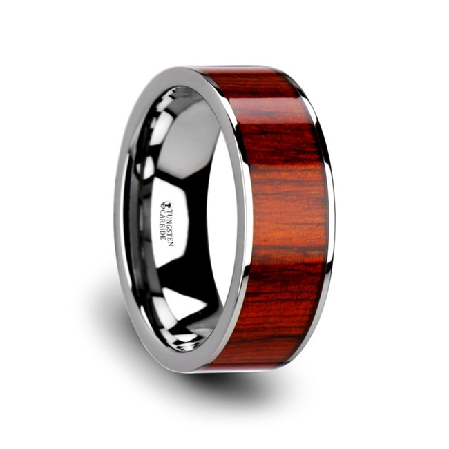 Gerana Flat Tungsten Carbide Band with Exotic Padauk Wood Inlay and Polished Edges from Vansweden Jewelers