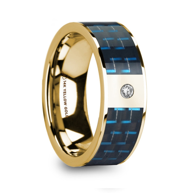 Laodamia Polished 14k Yellow Gold and Black & Blue Carbon Fiber Men's Wedding Band with Diamond from Vansweden Jewelers