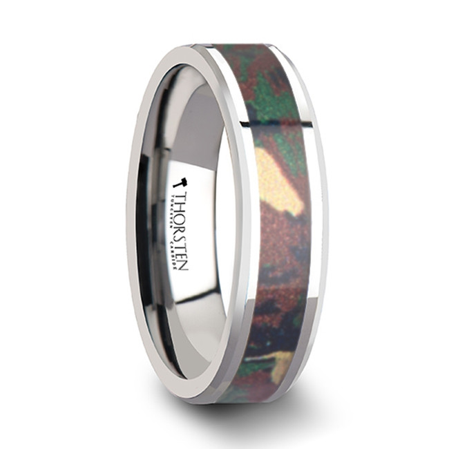 Tithonus Tungsten Wedding Ring with Military Style Jungle Camouflage Inlay from Vansweden Jewelers