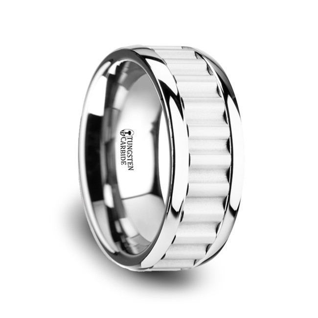 Atymnius Tungsten Carbide Wedding Band with Gear Teeth Inlay & Polished Edges from Vansweden Jewelers