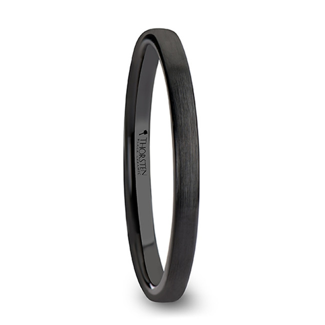 Anaxibia Black Flat Shaped Ceramic Women's Wedding Band with Brushed Finish from Vansweden Jewelers