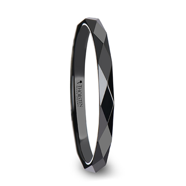Polyxo Polished Diamond Faceted Black Ceramic Women's Wedding Ring from Vansweden Jewelers