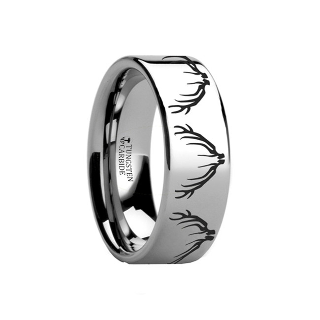 Apsyrtus Deer & Elk Antler Engraved Flat Tungsten Ring from Vansweden Jewelers