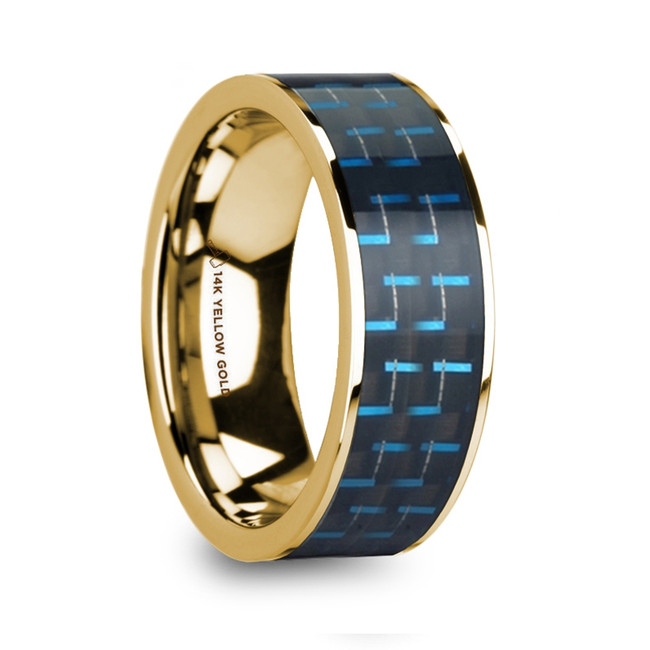 Arisbas Polished 14k Yellow Gold Men's Wedding Ring with Black & Blue Carbon Fiber Inlay from Vansweden Jewelers