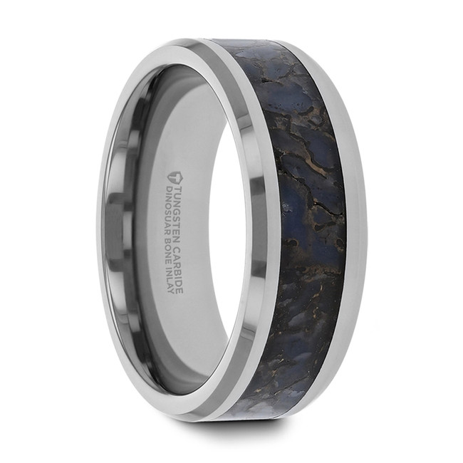 Canace Blue Dinosaur Bone Inlaid Tungsten Carbide Beveled Edged Ring from Vansweden Jewelers