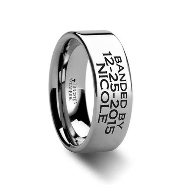 Cychreus Duck Band Style Custom Engraved Flat Ring from Vansweden Jewelers