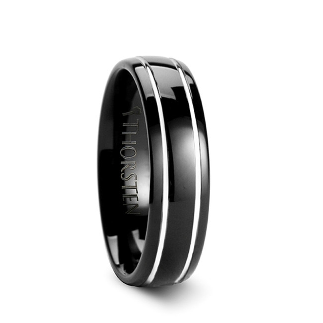 Hyllus Black Domed Tungsten Carbide Ring with Offset Grooves from Vansweden Jewelers