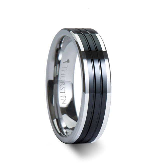 Myrtilus Pipe Cut Grooved Tungsten Ring with Ceramic Inlay from Vansweden Jewelers
