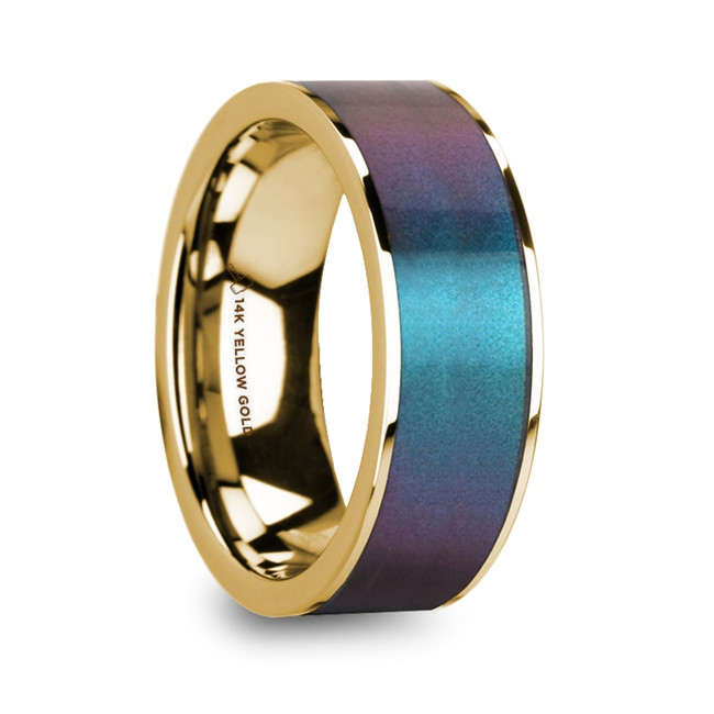 Astyanax Blue & Purple Color Changing Inlaid 14k Yellow Gold Men's Polished Wedding Ring from Vansweden Jewelers