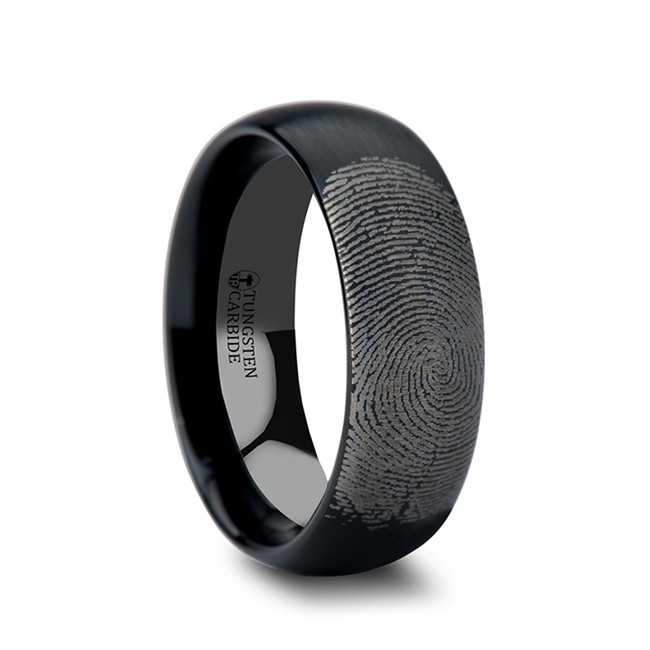 Lophis Domed Brushed Black Tungsten Ring with Custom Fingerprint Engraving from Vansweden Jewelers