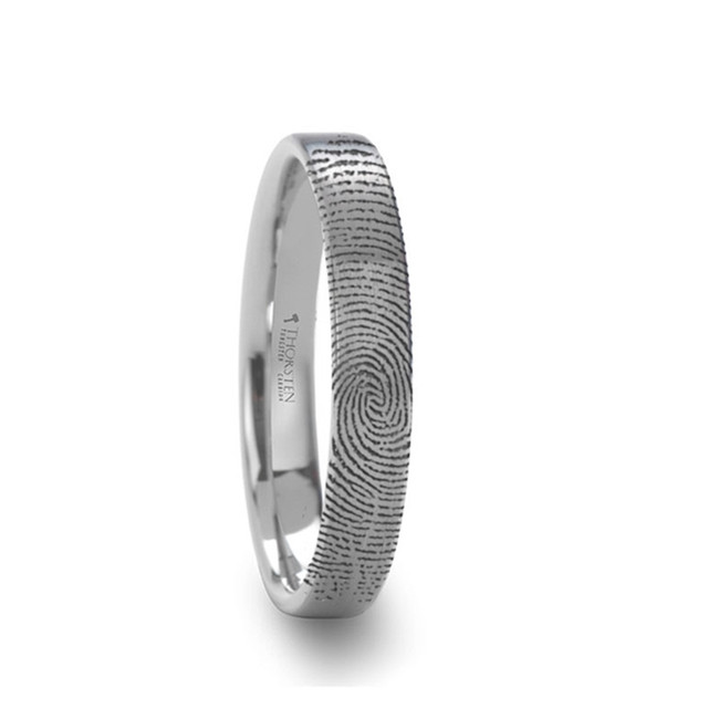 Euryalus Flat Pipe Cut Brushed Tungsten Ring with Custom Fingerprint Engraving from Vansweden Jewelers