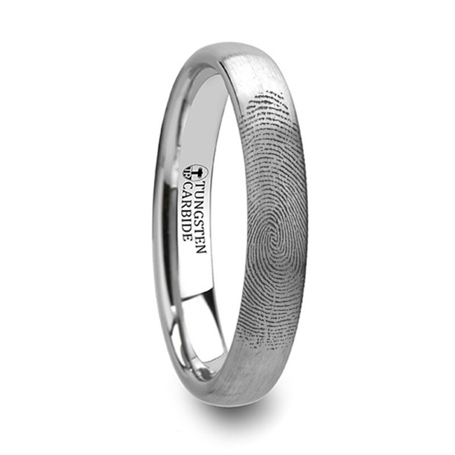 Andraemon Domed Brushed Tungsten Ring with Custom Fingerprint Engraving from Vansweden Jewelers