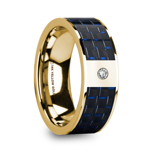 Hyperippe Men's 14k Yellow Gold Flat Wedding Ring with Diamond and Blue & Black Carbon Fiber Inlay from Vansweden Jewelers