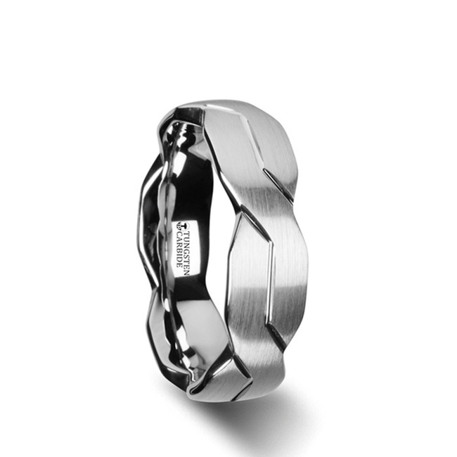 Troezen White Tungsten Ring with Brushed Carved Infinity Symbol Design from Vansweden Jewelers