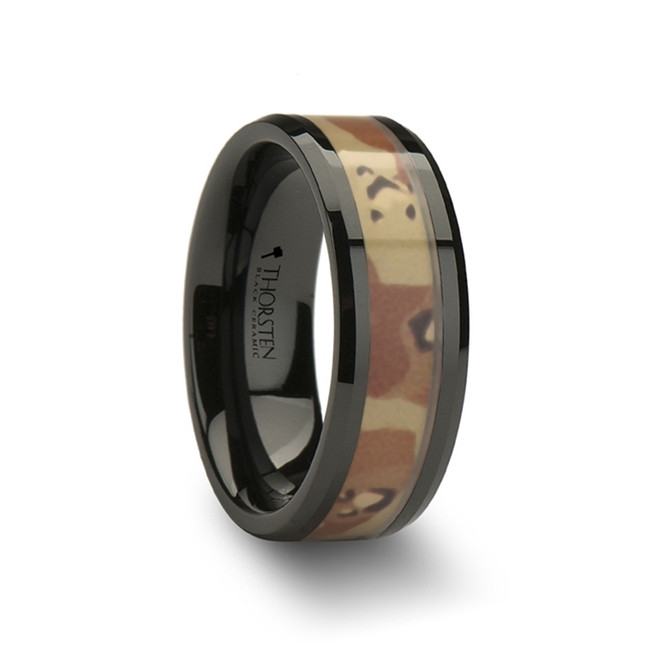 Arcas Beveled Black Ceramic Ring with Real Military Style Desert Camo from Vansweden Jewelers