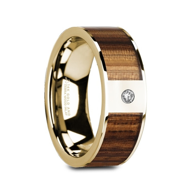 Clytus Flat Polished 14K Yellow Gold Ring with Zebra Wood Inlay & White Diamond from Vansweden Jewelers