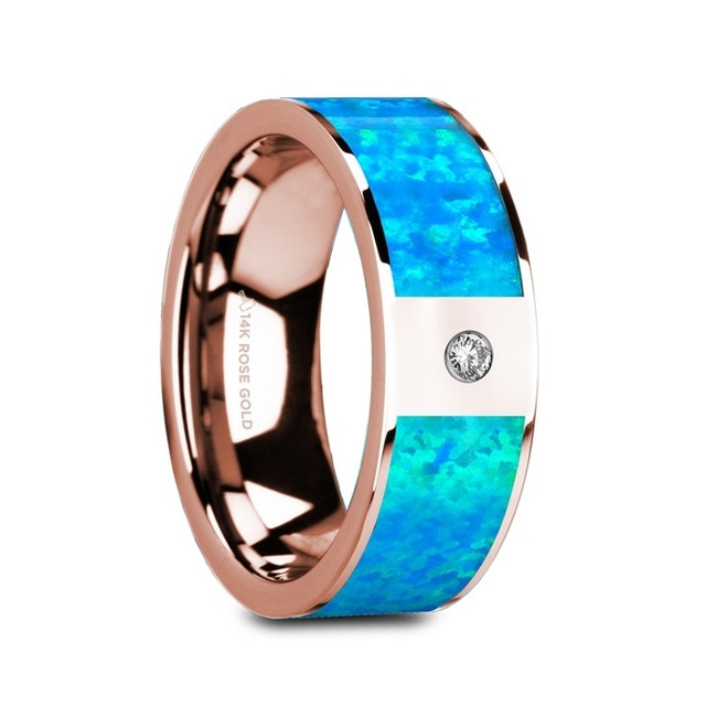 Astacus Flat Polished 14K Rose Gold Ring with Blue Opal Inlay & White Diamond from Vansweden Jewelers