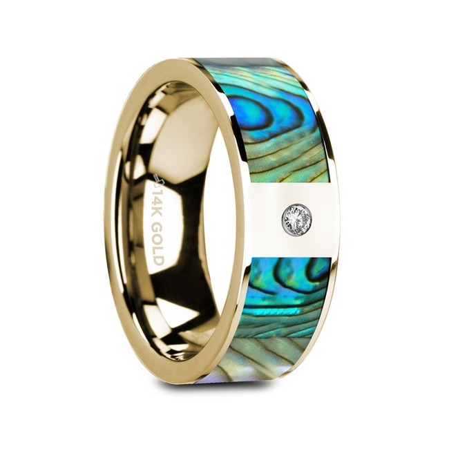 Myrmidone Flat Polished 14K Yellow Gold Ring with Mother of Pearl Inlay & White Diamond from Vansweden Jewelers